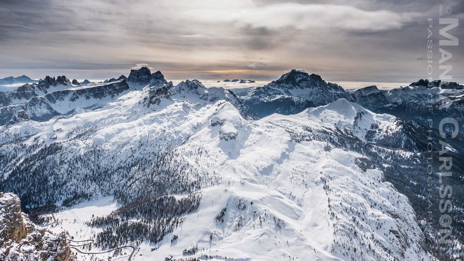 Blick auf das Skigebiet Lagazuoi-5 Torri © Manja Carlsson