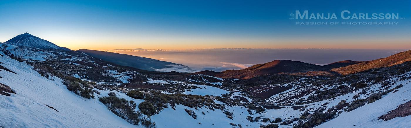 Panoramablick von der Izaña auf das Orotavatal (Teneriffa) kurz nach Sonnenuntergang