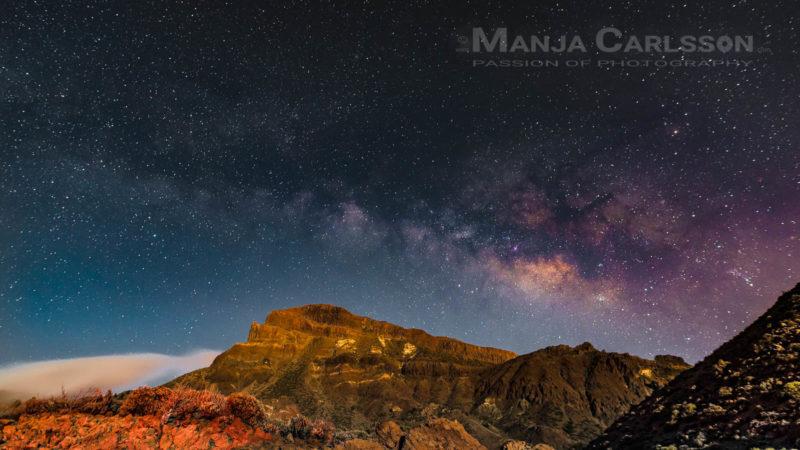 Milchstraßenzentrum - Montaña Guajara im Mondscheinlicht