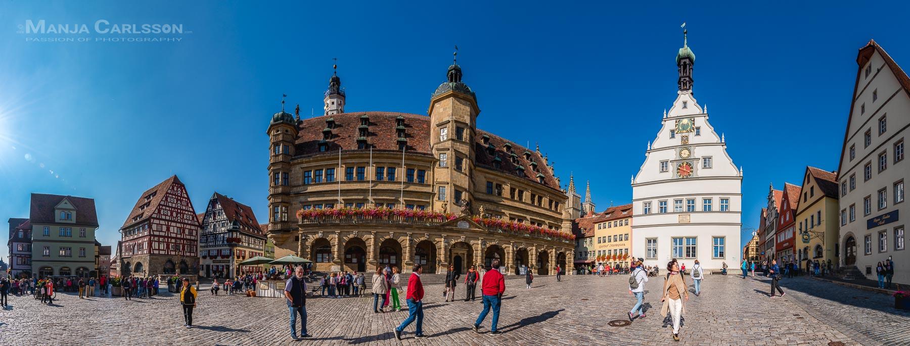 Rothenburg ob der Tauber - Markt - Panorama aus 15 HK-Fotos