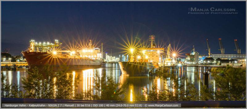 Kattwykhafen in der Nacht | OIL-TANKER HARRISON BAY und BRO NIBE