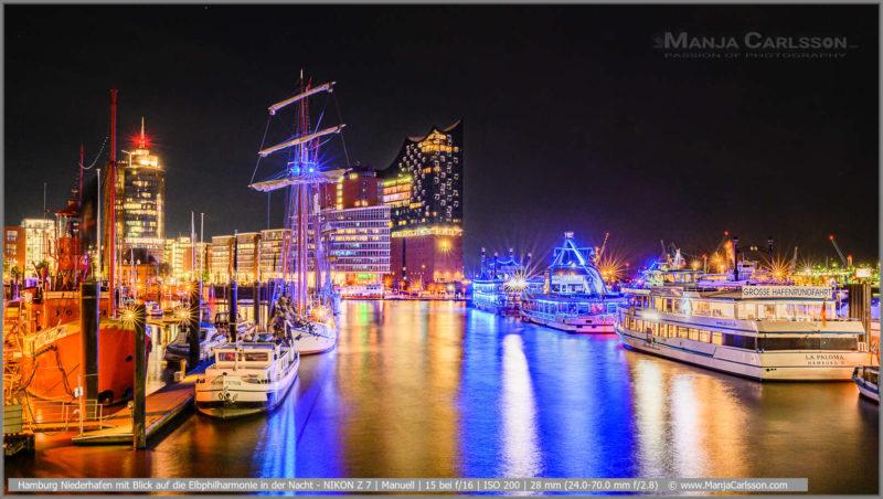 Hamburg Niederhafen mit Blick auf die Elbphilharmonie in der Nacht